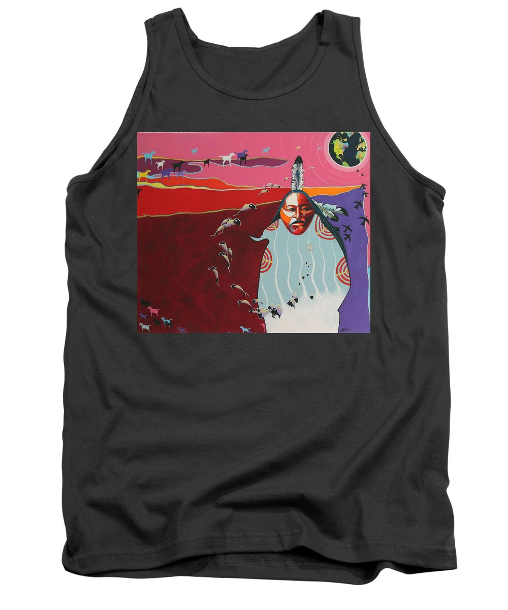 Native American Tank Top featuring the painting Creation by Joe Triano