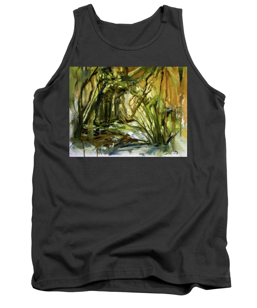 Nature Tank Top featuring the painting Creek Levels With Overhang by Julianne Felton