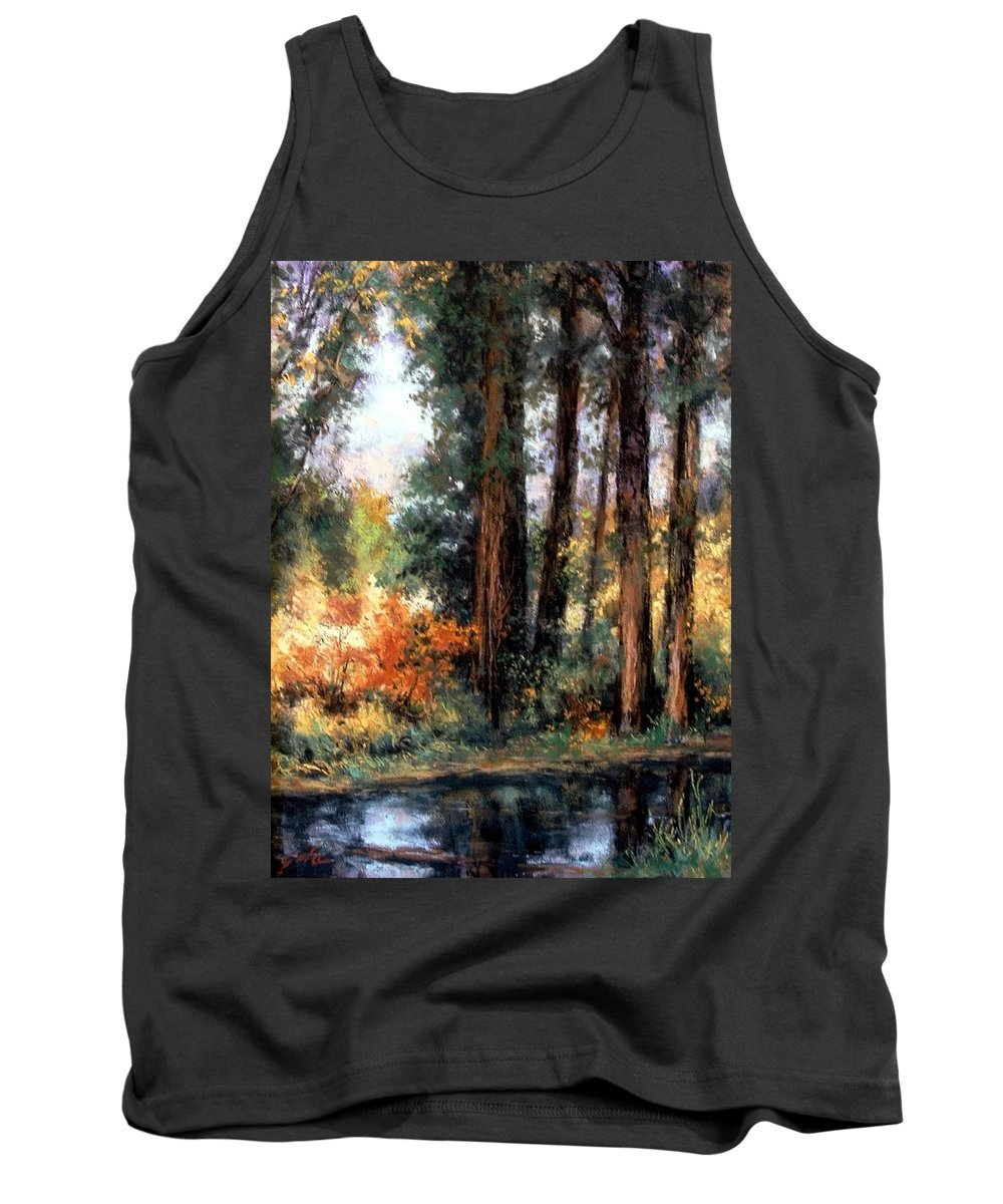 Oil Painting Tank Top featuring the pastel Creekside No 2 by Jim Gola