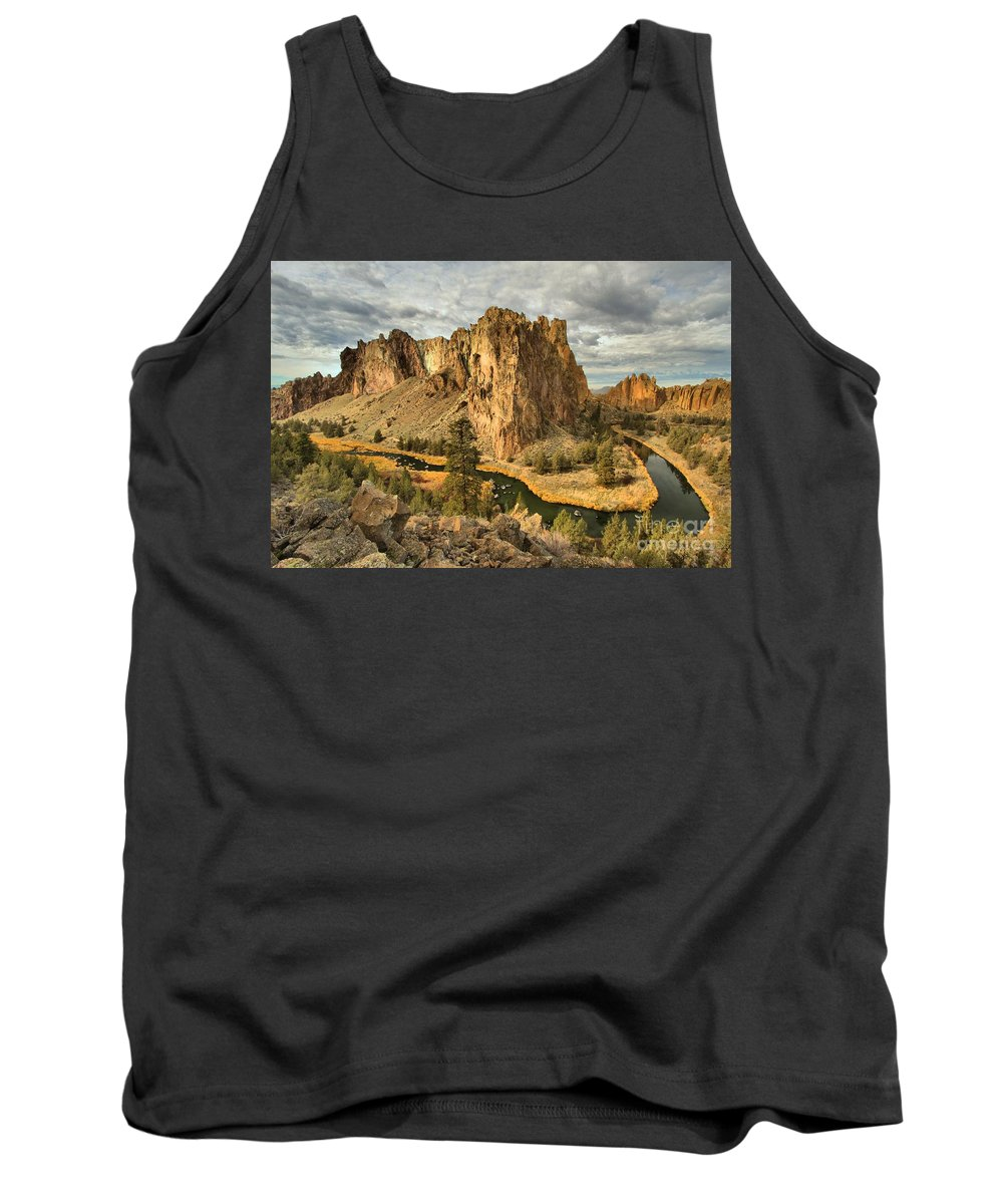 Smith Rock Tank Top featuring the photograph Croooked River Around The Jagged Peaks by Adam Jewell
