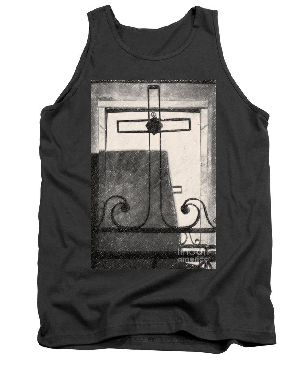 Cross Tank Top featuring the photograph Crosses Voided Wrought Iron _ Nola by Kathleen K Parker