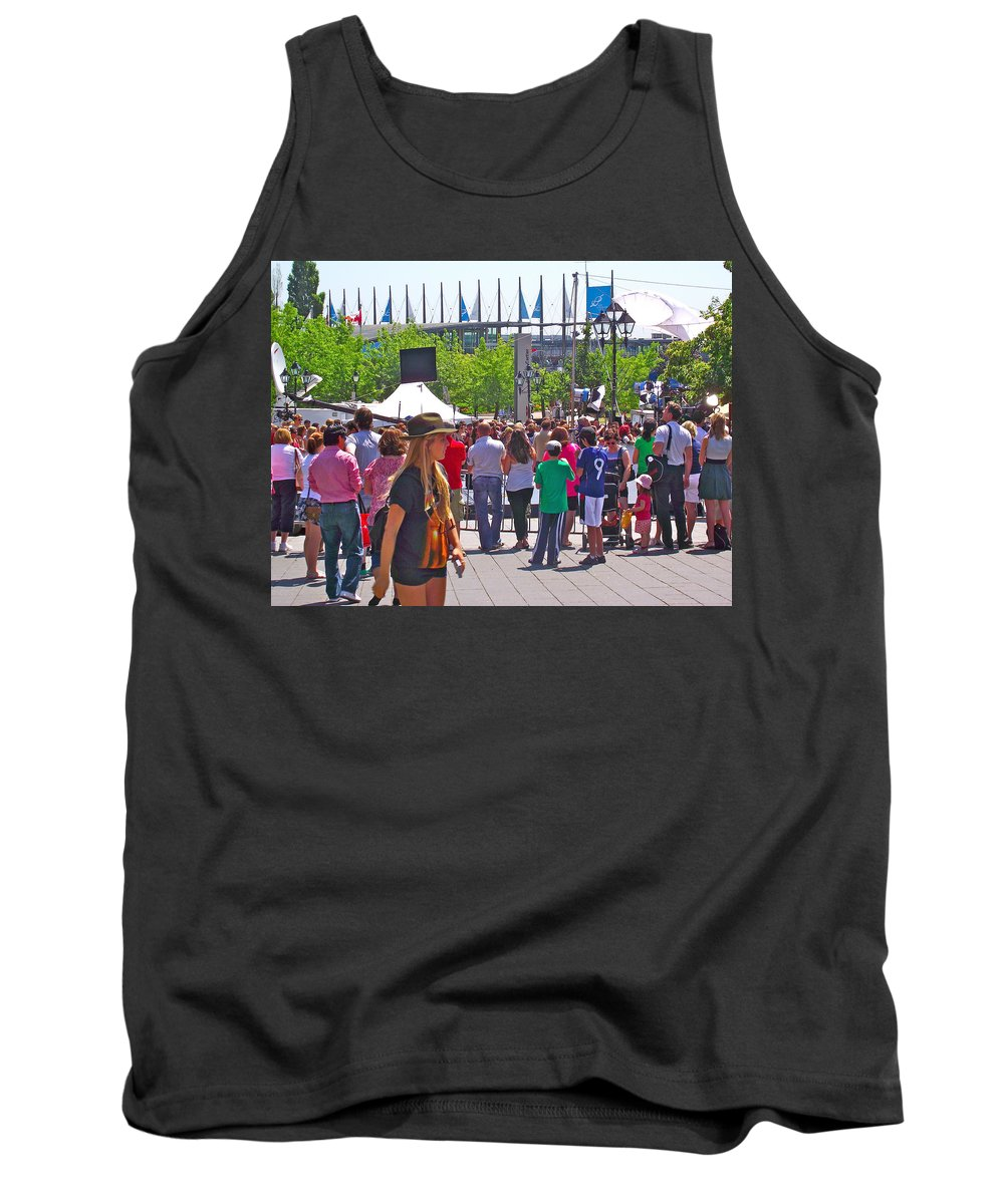 Crowd Watching Filming Of Today Show In Old Montreal Tank Top featuring the photograph Crowd Watching Filming Of Today Show In Old Montreal-qc by Ruth Hager