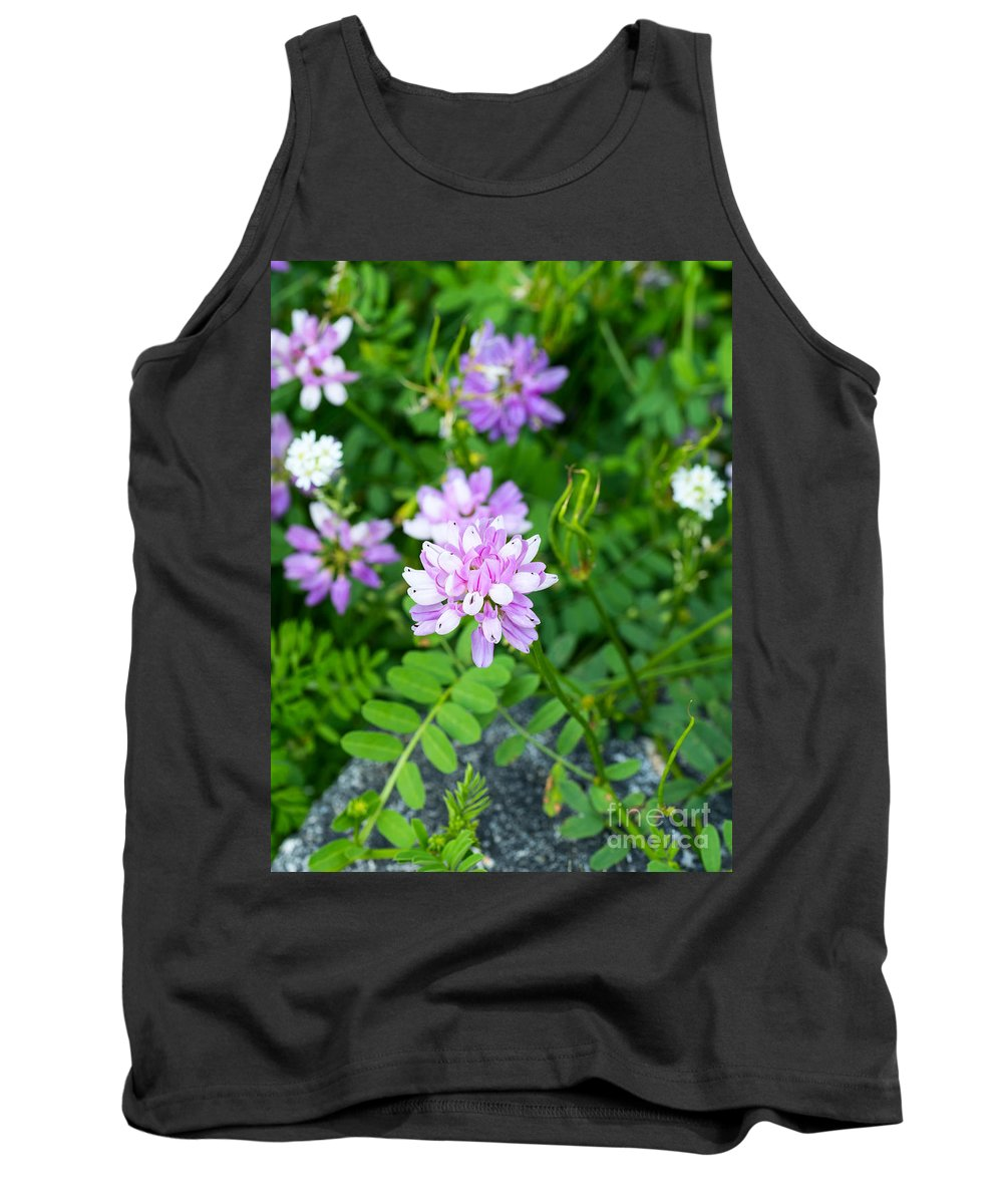 Pink Tank Top featuring the photograph Crown Vetch Wildflowers by Les Palenik