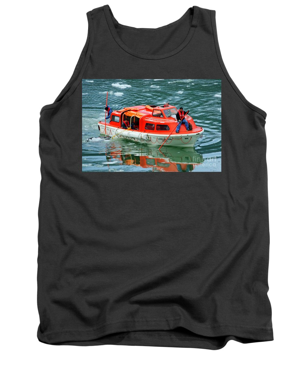 Cruise Tender Tank Top featuring the photograph Cruise Ship Tender Boat by Tap On Photo