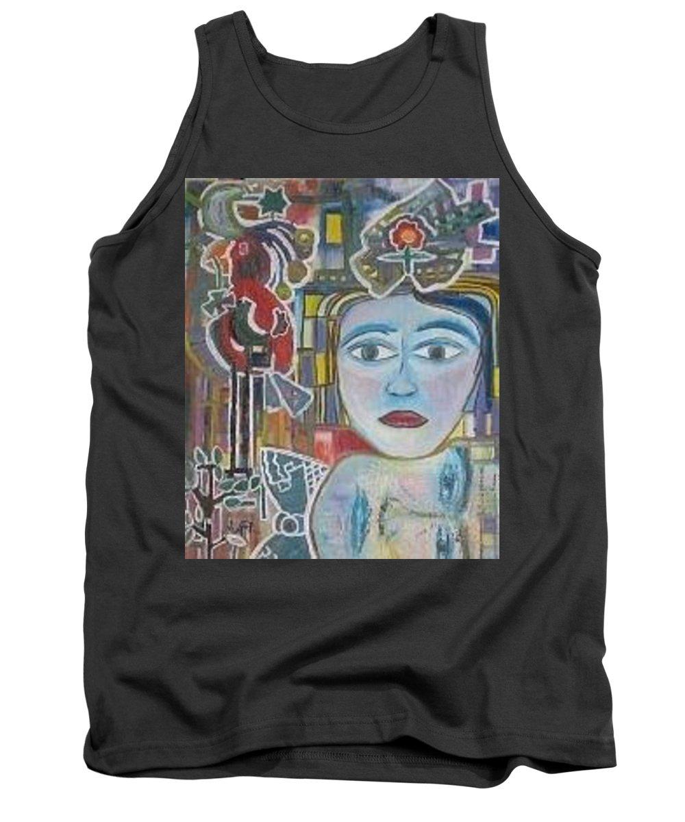 Colores Tank Top featuring the painting Cuestion De Generos by Claudia Suarez alvez