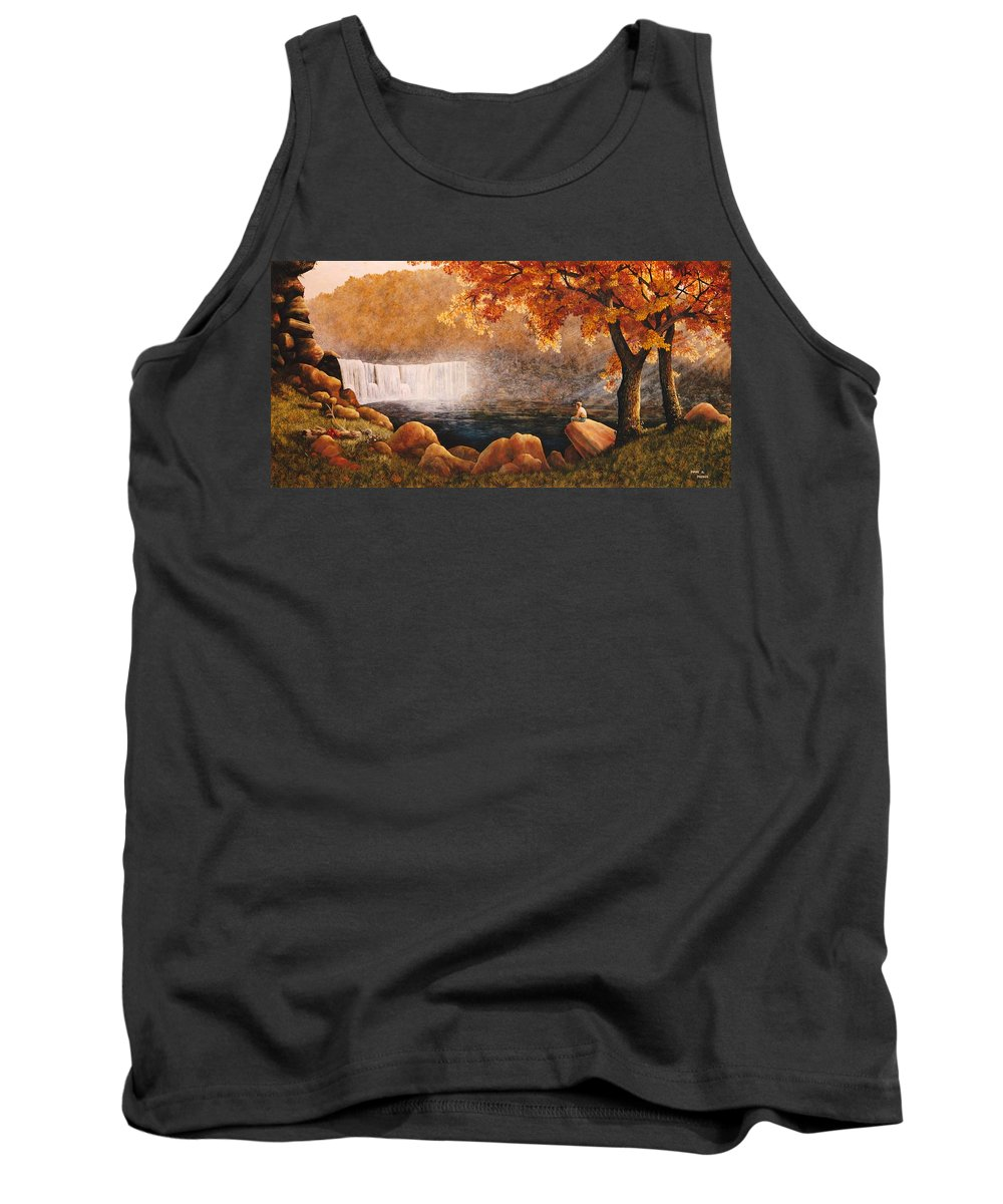 Waterfall Tank Top featuring the painting Cumberland Falls by Duane R Probus