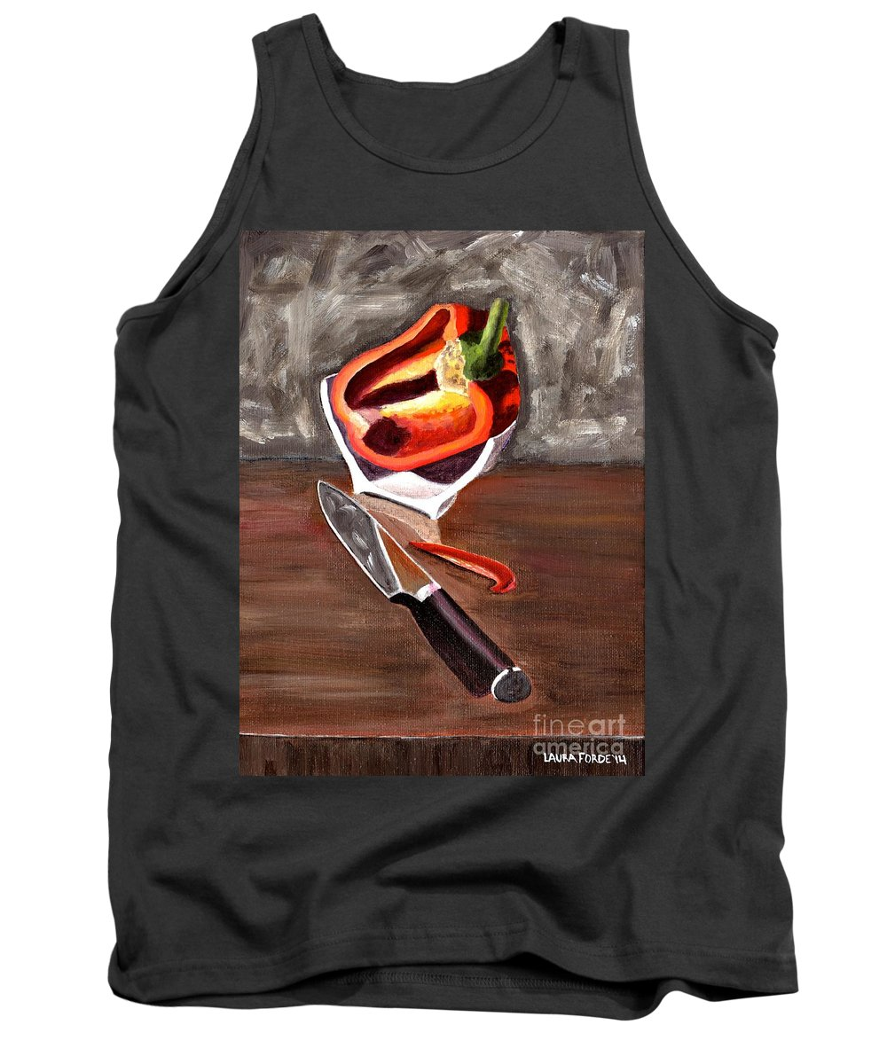 Still Life Tank Top featuring the painting Cut In Half by Laura Forde