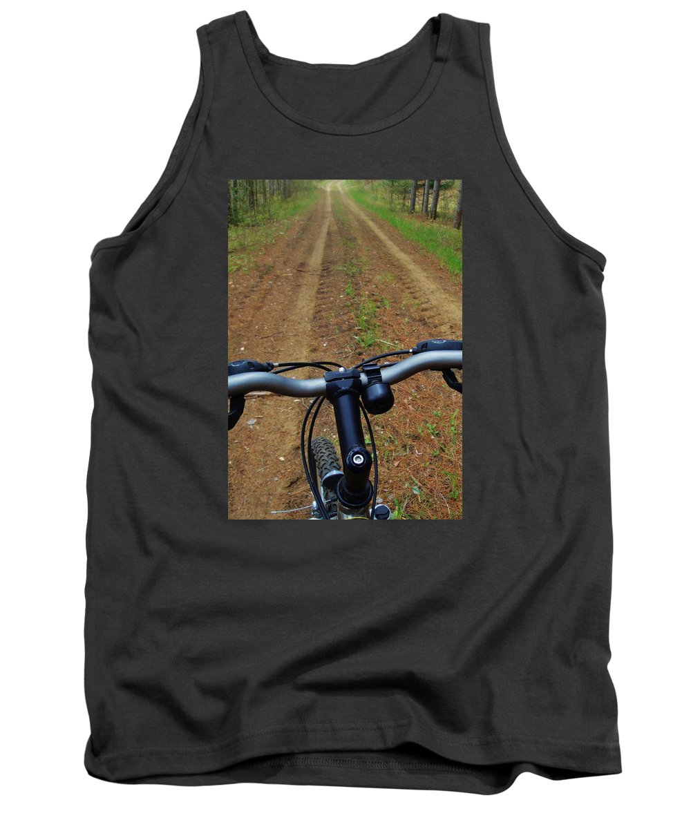 Cycling Tank Top featuring the photograph Cycling In The Country by Pixel Productions