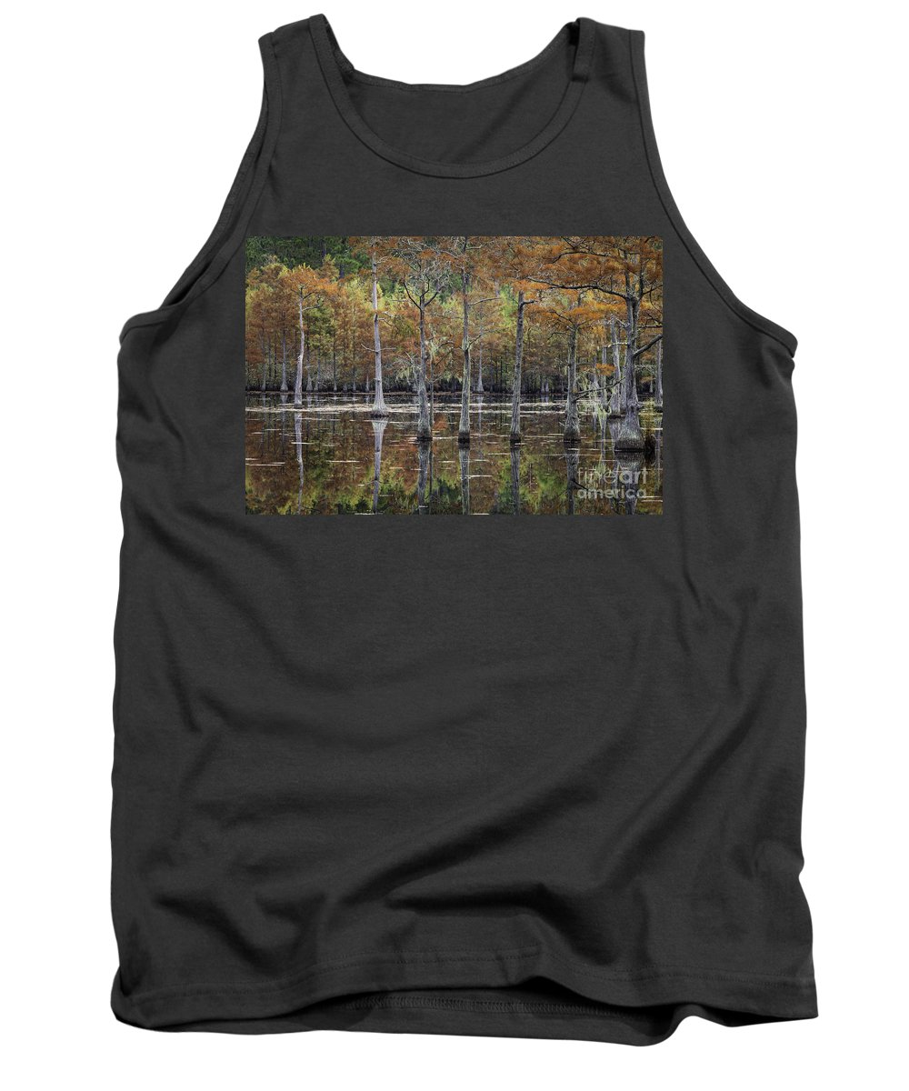 Cypress Trees Tank Top featuring the photograph Cypress Tree Fall Reflections by Maria Struss