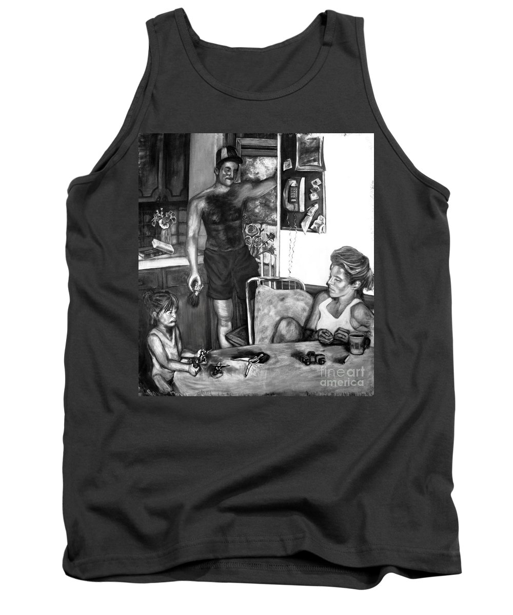 Family Tank Top featuring the drawing Daddy's Little Girl by Devon Reiffer