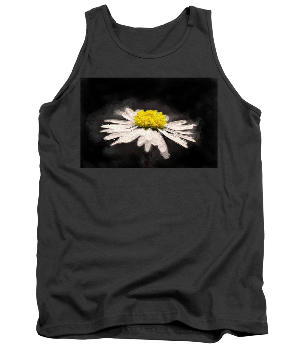 Daisy Flower White Yellow Expressionism Impressionism Painting Tank Top featuring the painting Daisy by Steve K