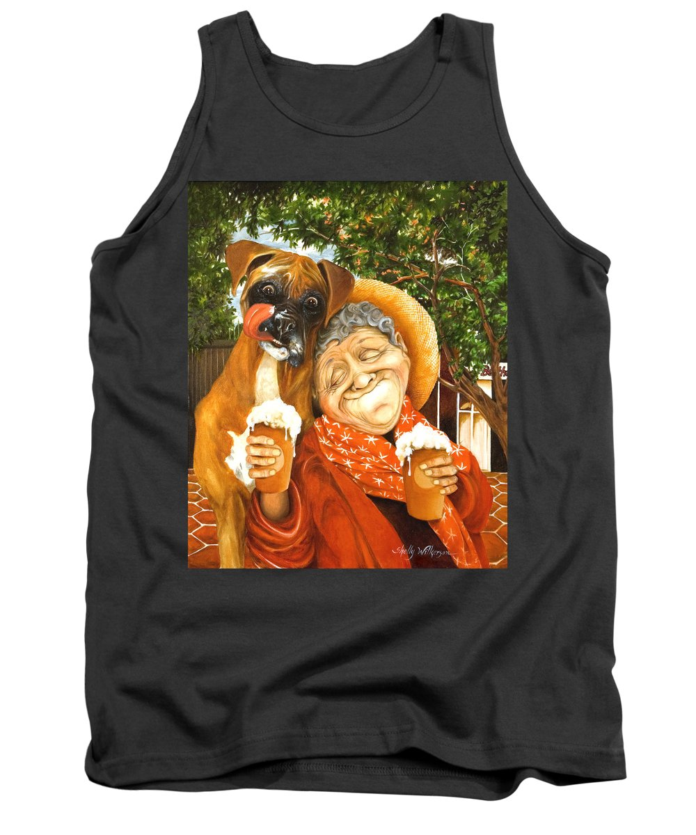 Boxer Tank Top featuring the painting Daisy's Mocha Latte by Shelly Wilkerson