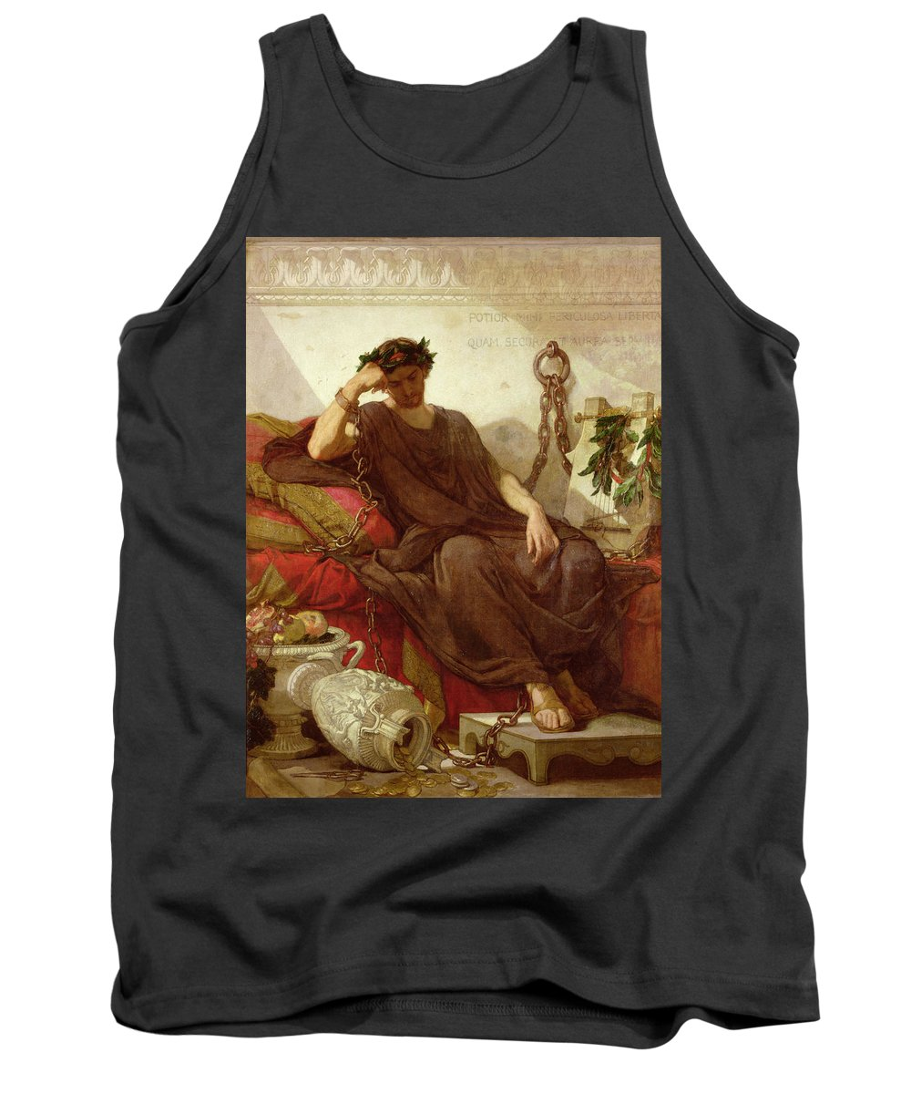 Chained Tank Top featuring the painting Damocles by Thomas Couture