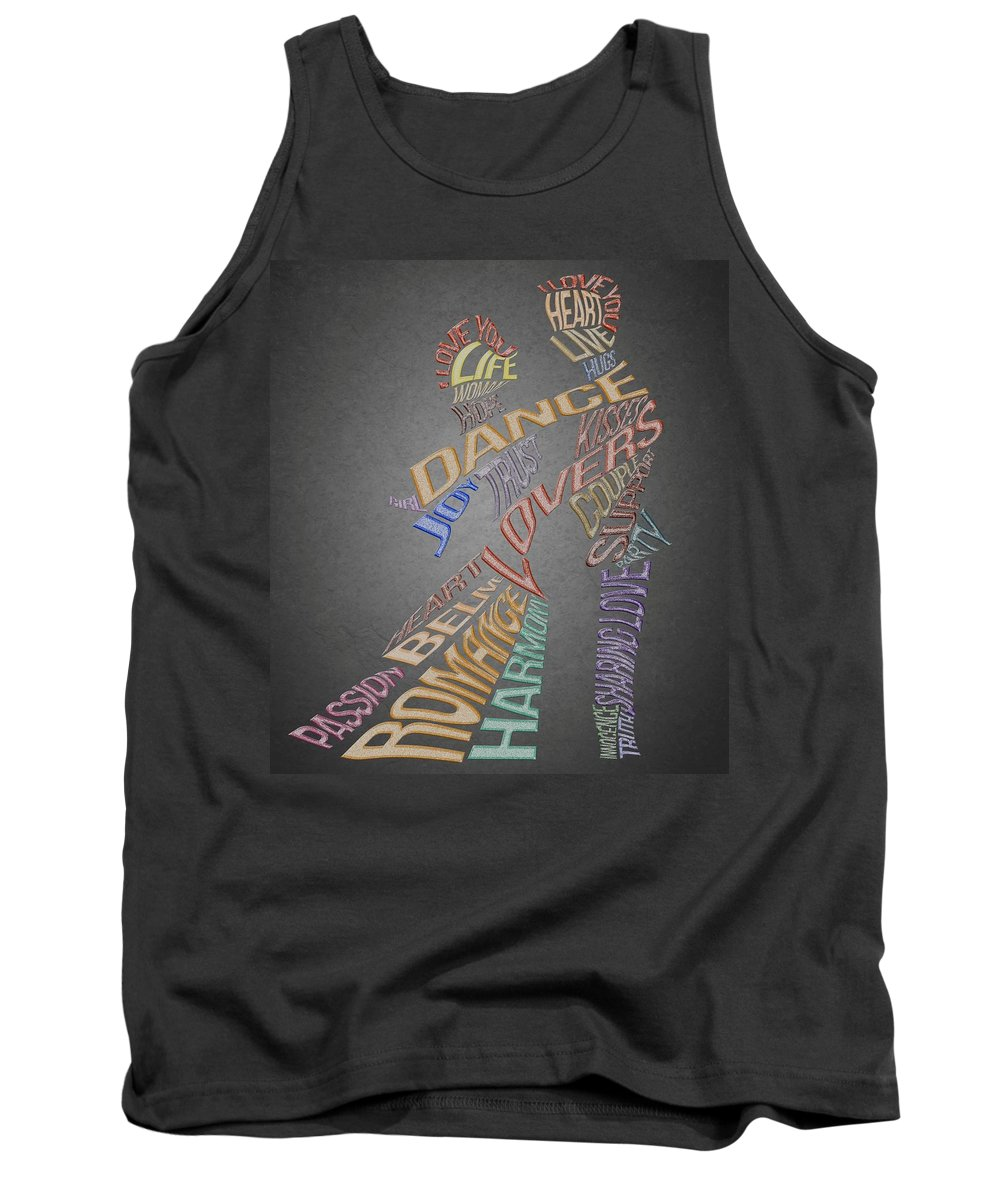 Lovers Dance Tank Top featuring the painting Dance Lovers Silhouettes Typography by Georgeta Blanaru
