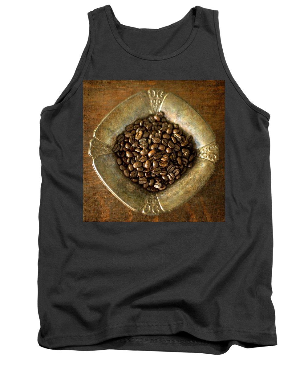 Whole Dark Roast Coffee Beans Tank Top featuring the photograph Dark Roast Coffee Beans And Antique Silver by Renee Hong