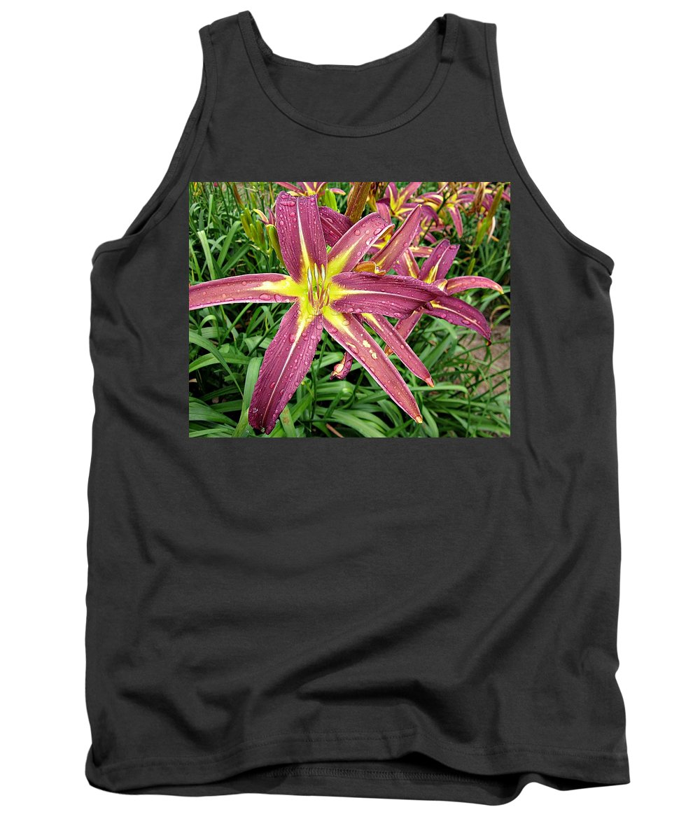 Daylily Tank Top featuring the photograph Dark Star Daylilies by MTBobbins Photography