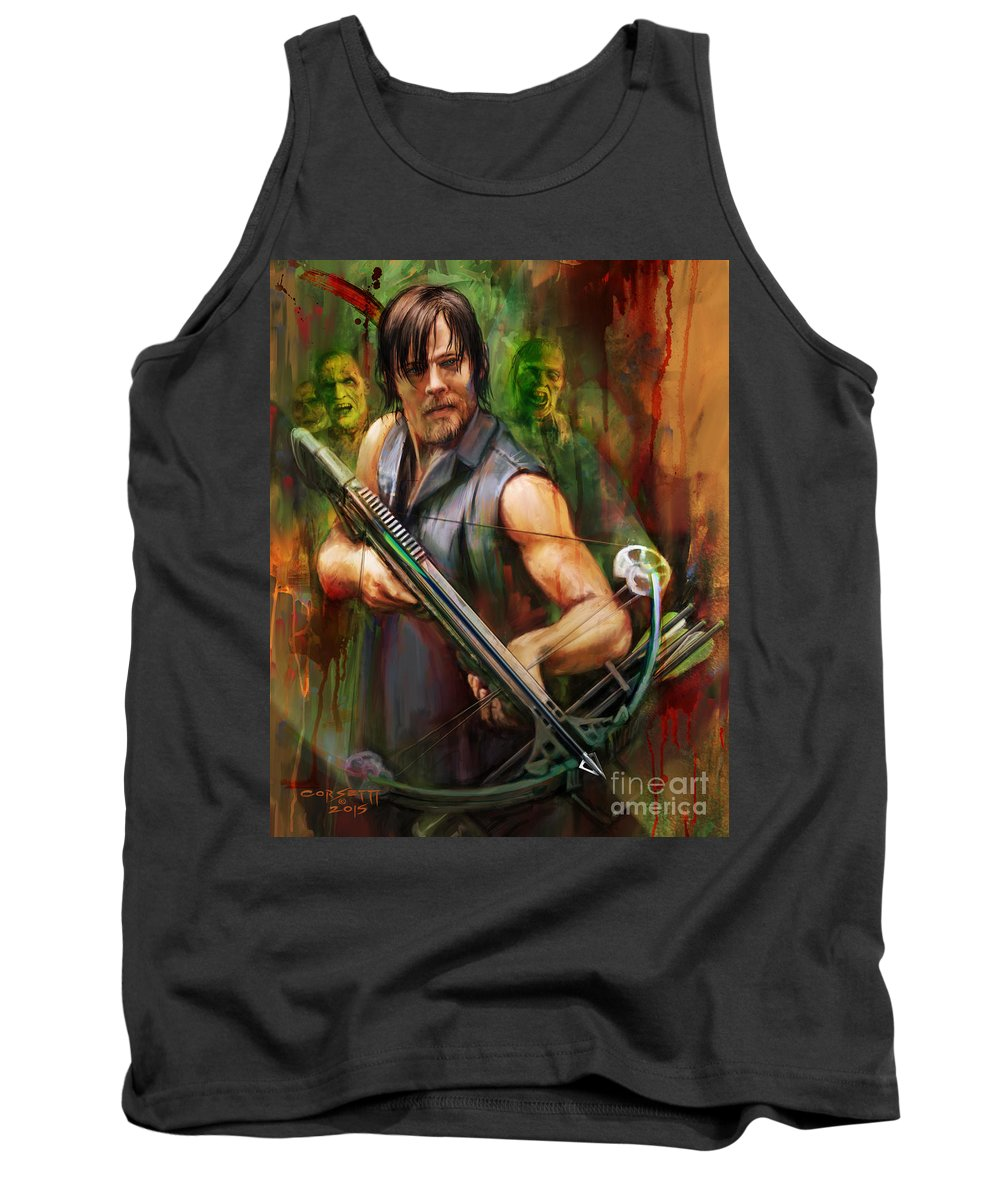 Wall Art Tank Top featuring the painting Daryl Dixon Walker Killer by Rob Corsetti