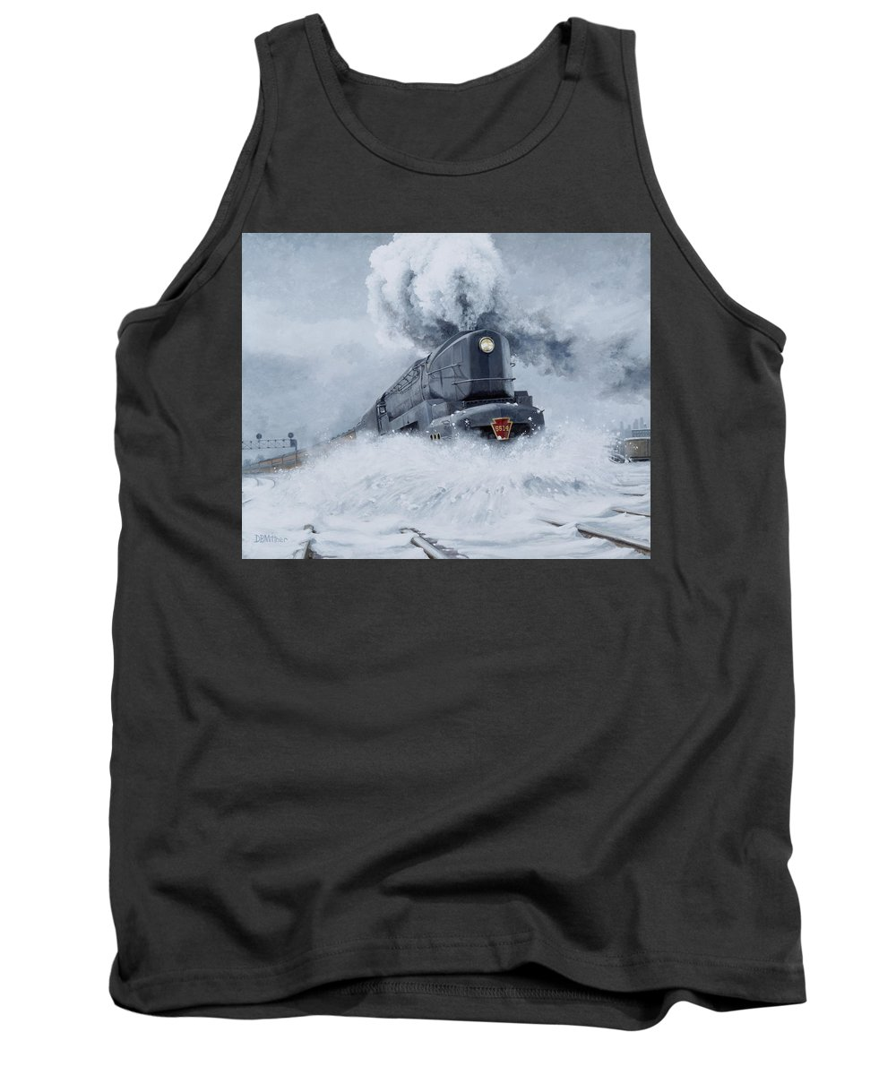 Trains Tank Top featuring the painting Dashing Through the Snow by David Mittner