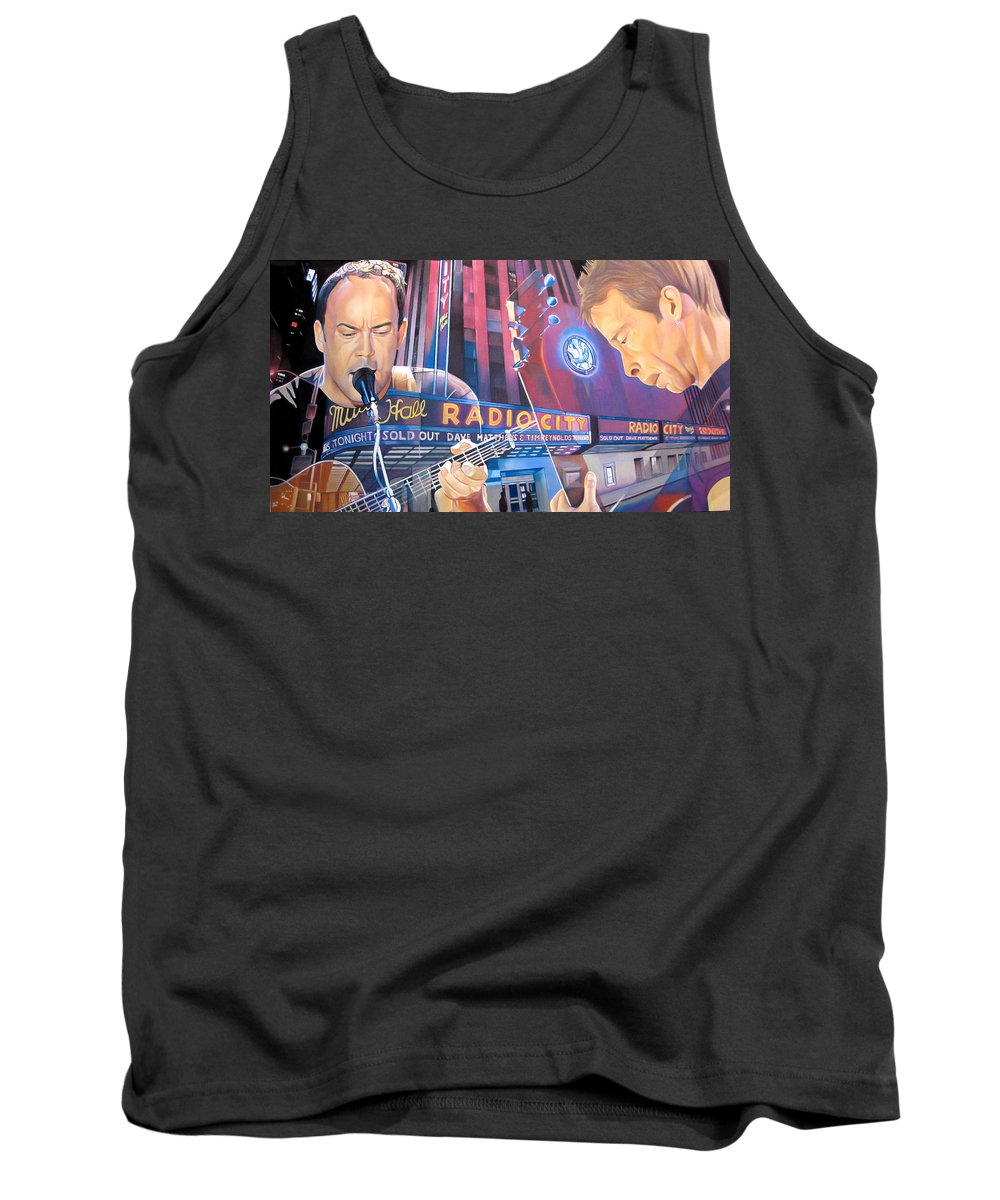 Dave Matthews Tank Top featuring the drawing Dave Matthews And Tim Reynolds At Radio City by Joshua Morton