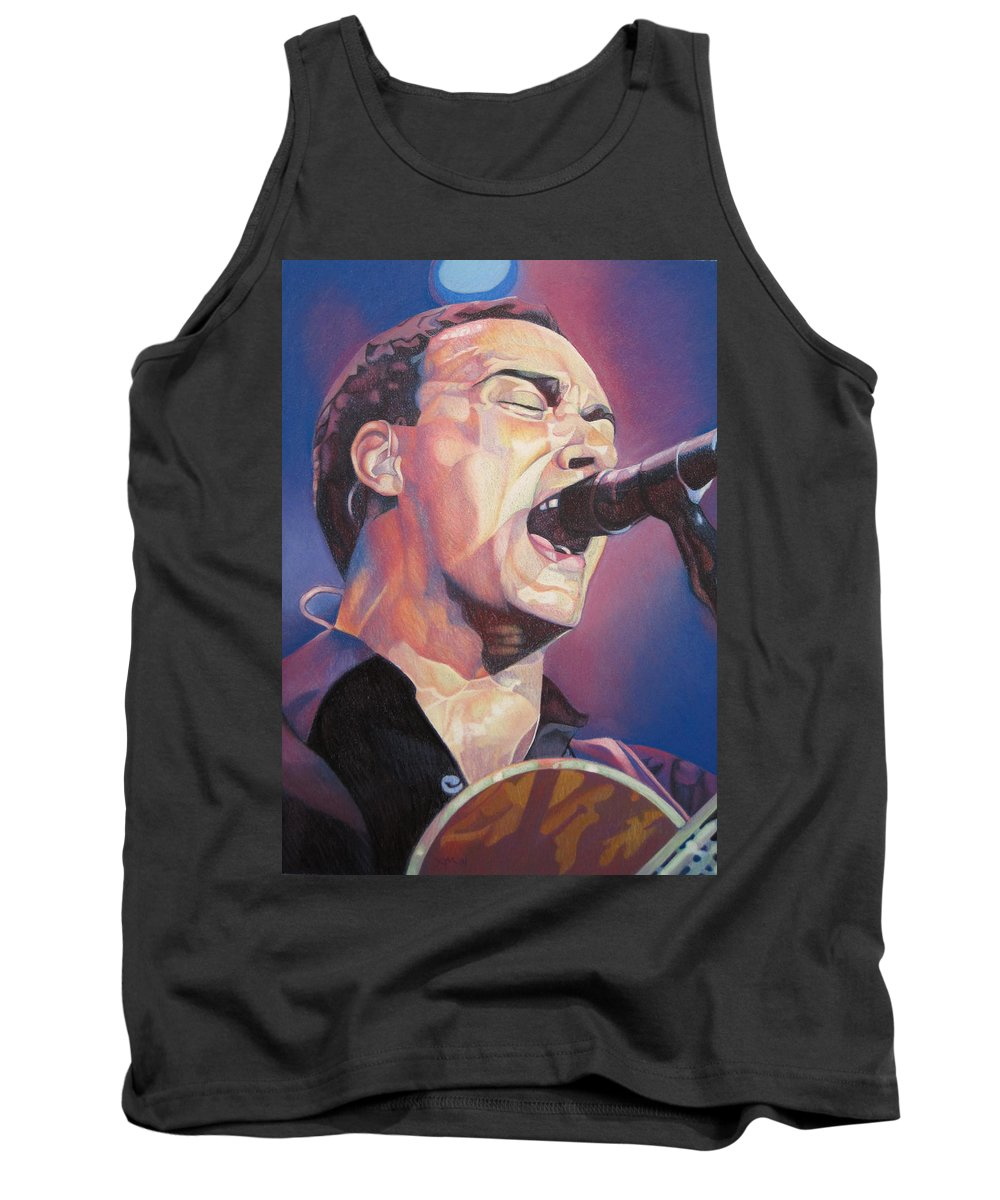 Dave Matthews Tank Top featuring the drawing Dave Matthews Colorful Full Band Series by Joshua Morton