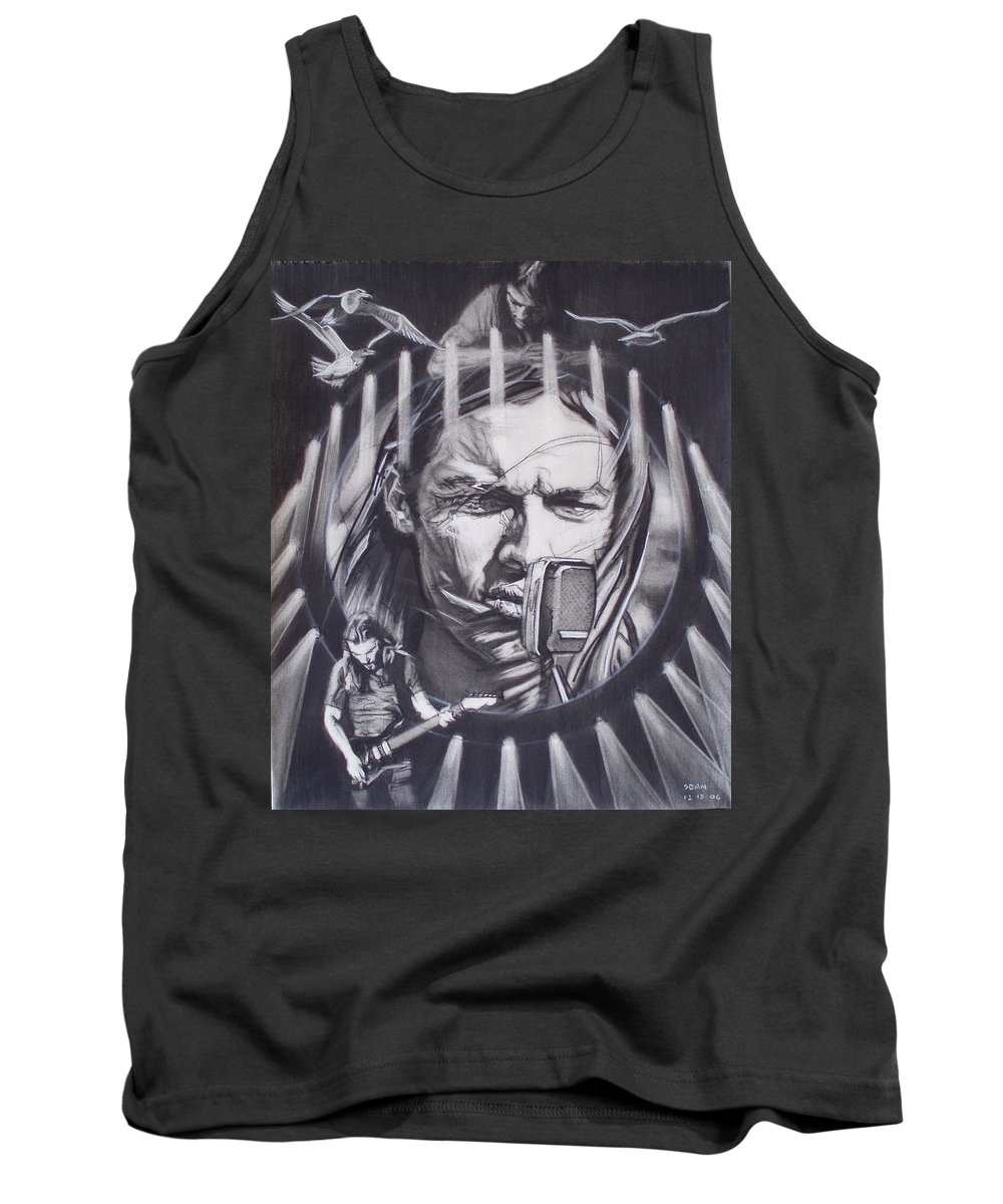 Charcoal On Paper Tank Top featuring the drawing David Gilmour Of Pink Floyd - Echoes by Sean Connolly