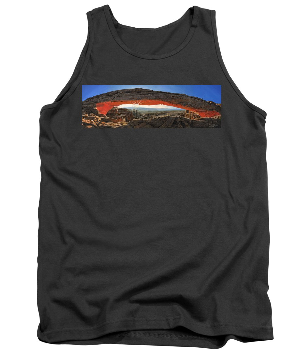 Mesa Arch Tank Top featuring the painting Dawn At Mesa Arch Canyonlands Utah by Richard Harpum