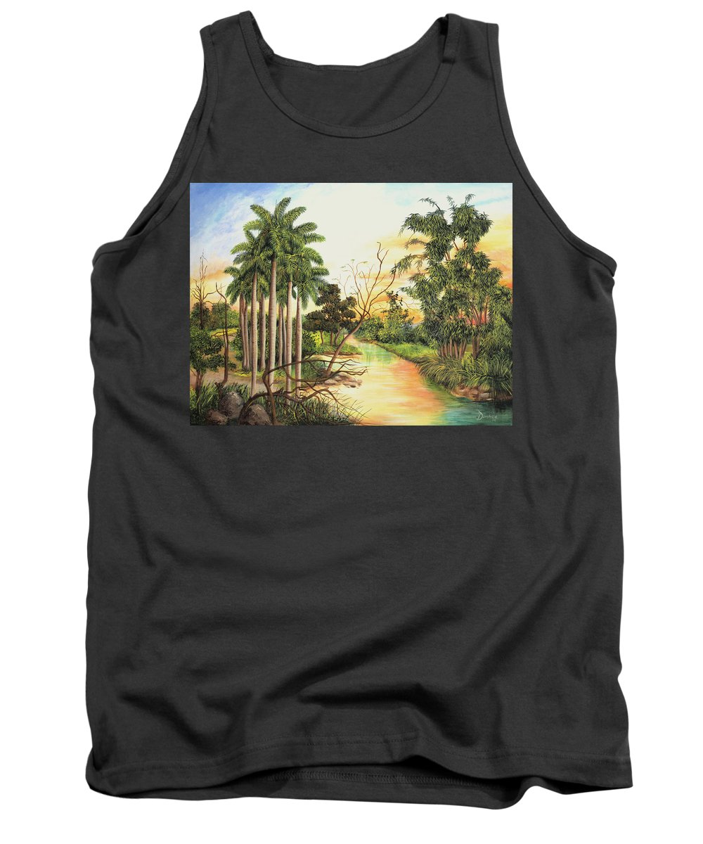 Wood Tank Top featuring the painting Dawn by Dominica Alcantara