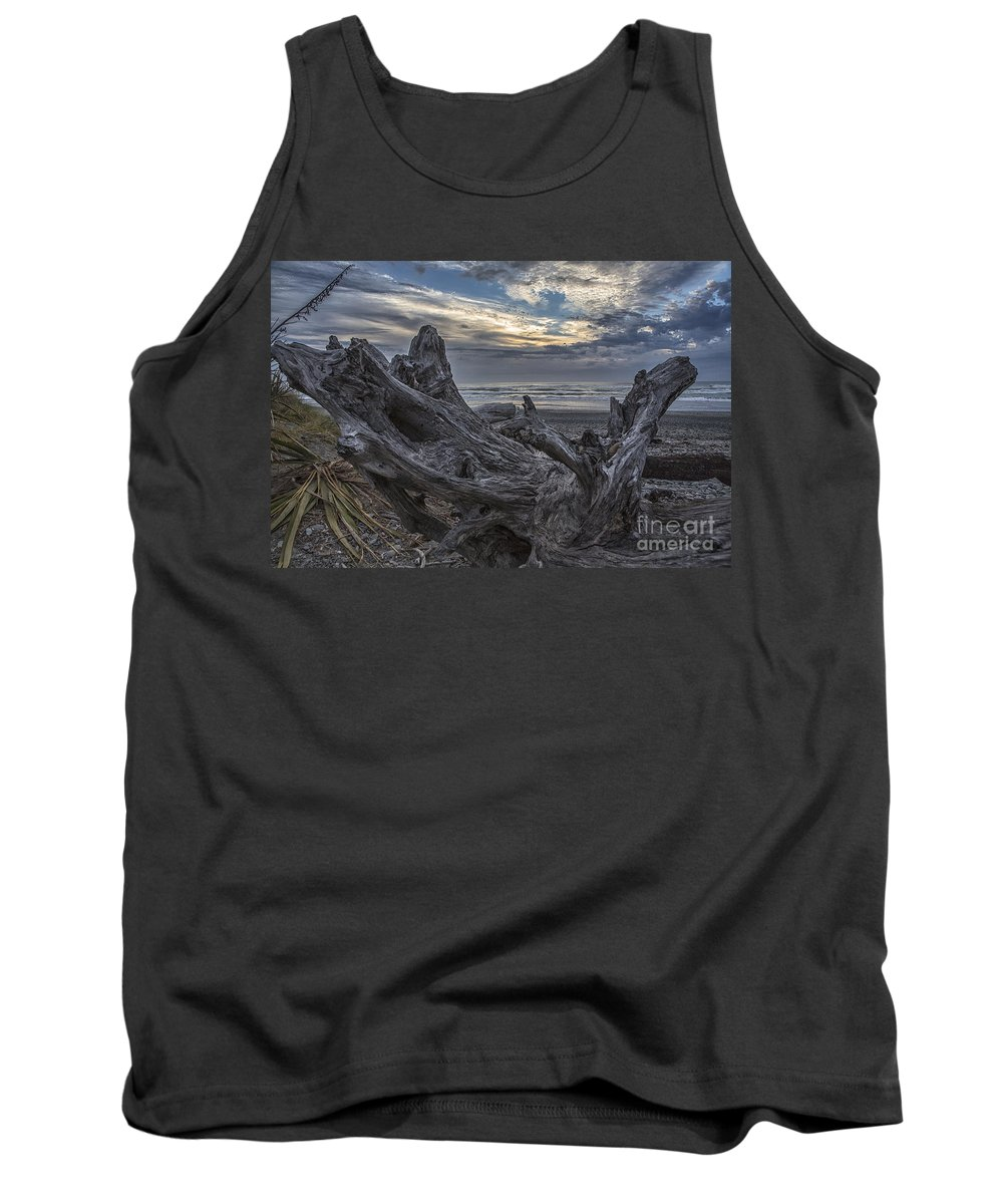 Dead Tree Tank Top featuring the photograph Dead tree on beach by Sheila Smart Fine Art Photography