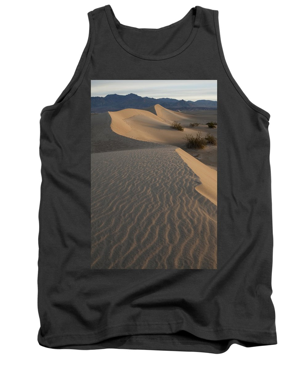 Death Valley Tank Top featuring the photograph Death Valley Mesquite Flat Sand Dunes Img 0181 by Greg Kluempers