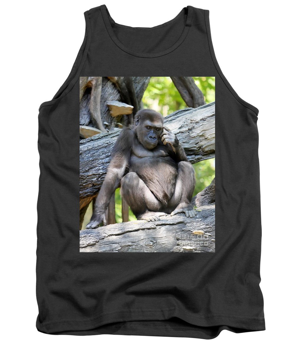 Gorilla Tank Top featuring the photograph Deep In Thought by Rick Kuperberg Sr