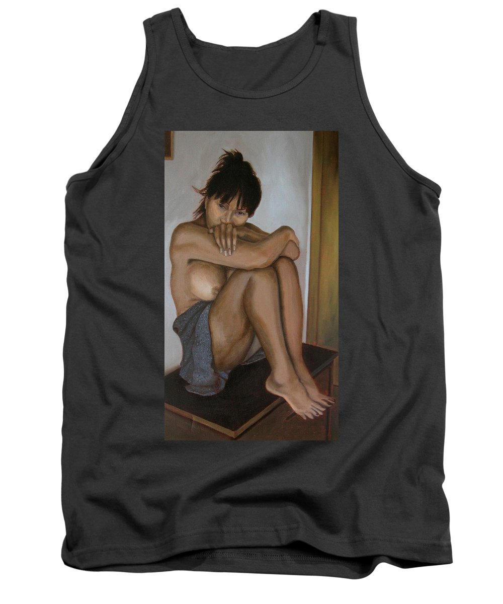 Figure Tank Top featuring the painting Deep In Thought by Thu Nguyen