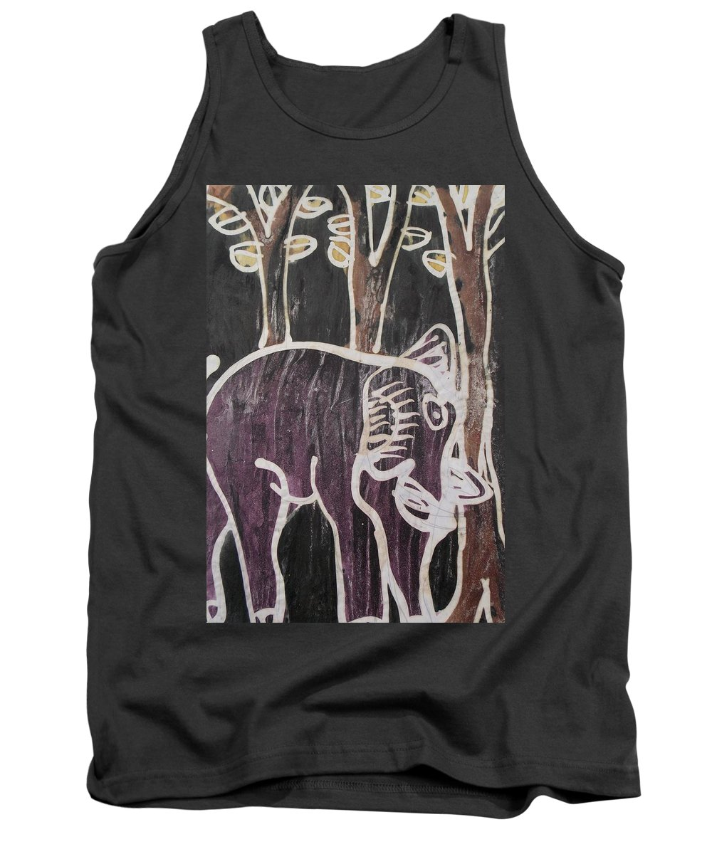 Forest Tank Top featuring the painting Deep Purple Elephant Painting In The Forest. by Okunade Olubayo