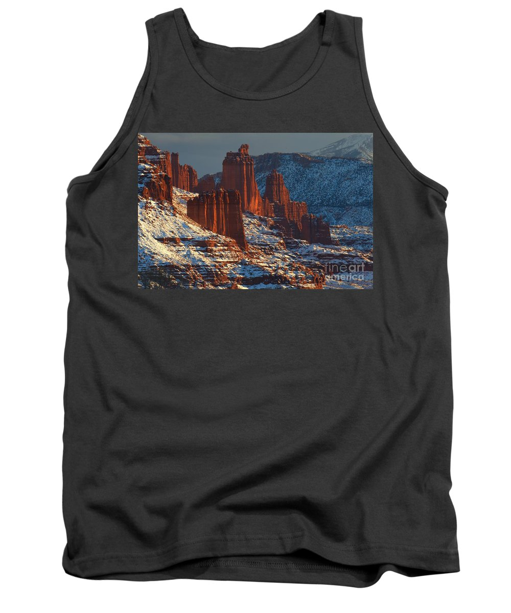 Fisher Towers Tank Top featuring the photograph Deep Red In A Sea Of White by Adam Jewell
