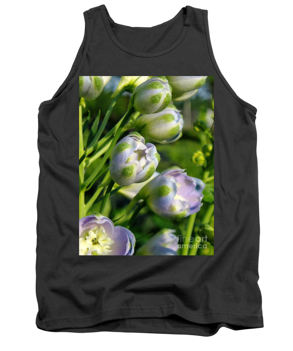 Tank Top featuring the photograph Delphinium Buds Blooming by Renee Croushore