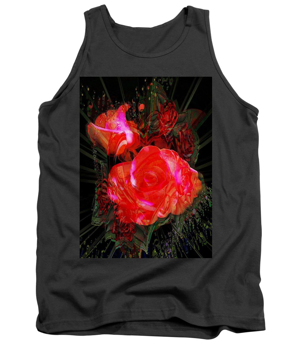 Detailed Roses Tank Top featuring the digital art Detailed Roses by Catherine Lott