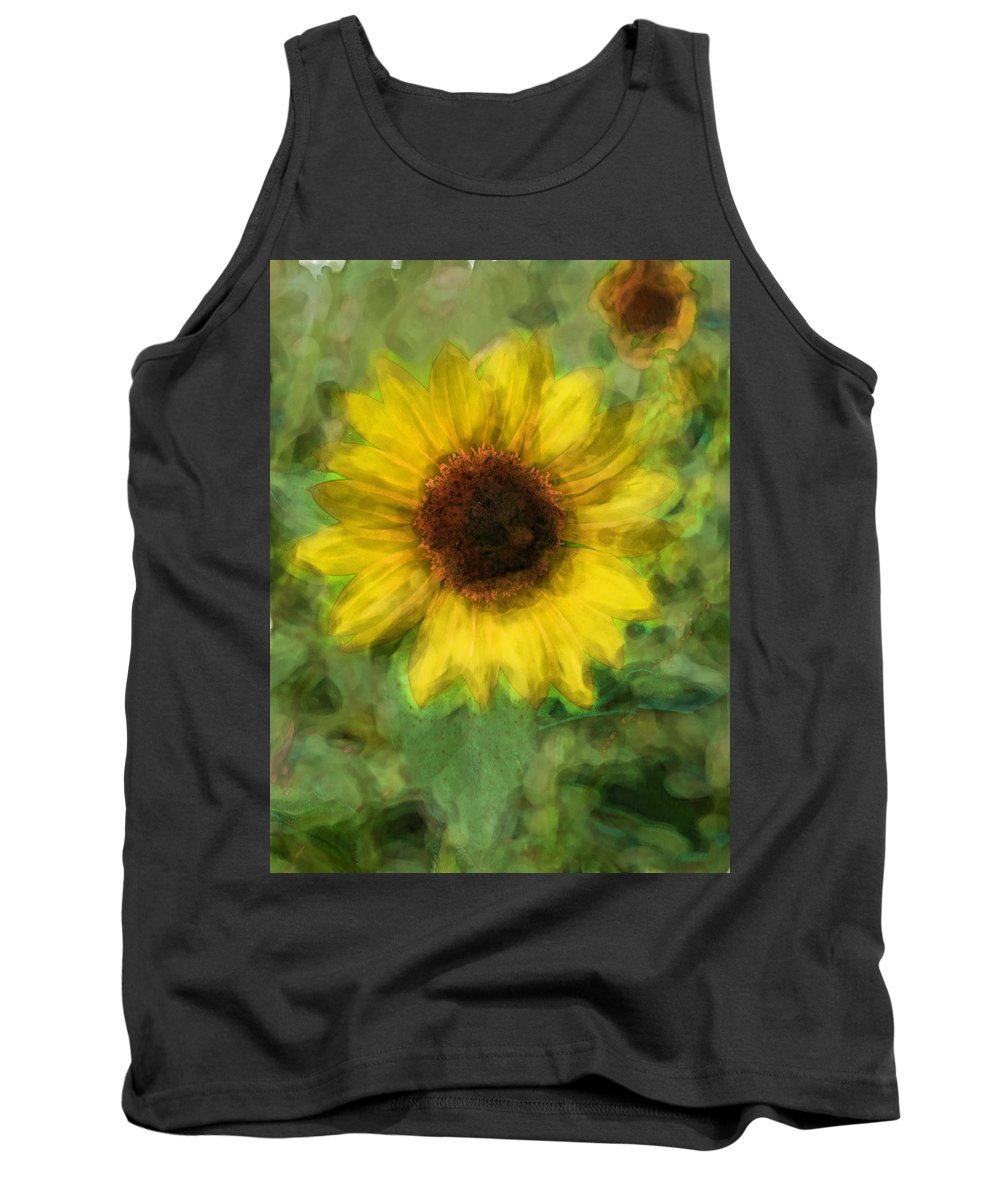 Sunflower Tank Top featuring the digital art Digital Painting Series Sunflower by Cathy Anderson