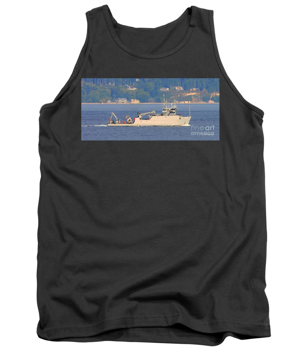 Discovery Tank Top featuring the photograph Discovery Bay Military Ops Ship by Tap On Photo
