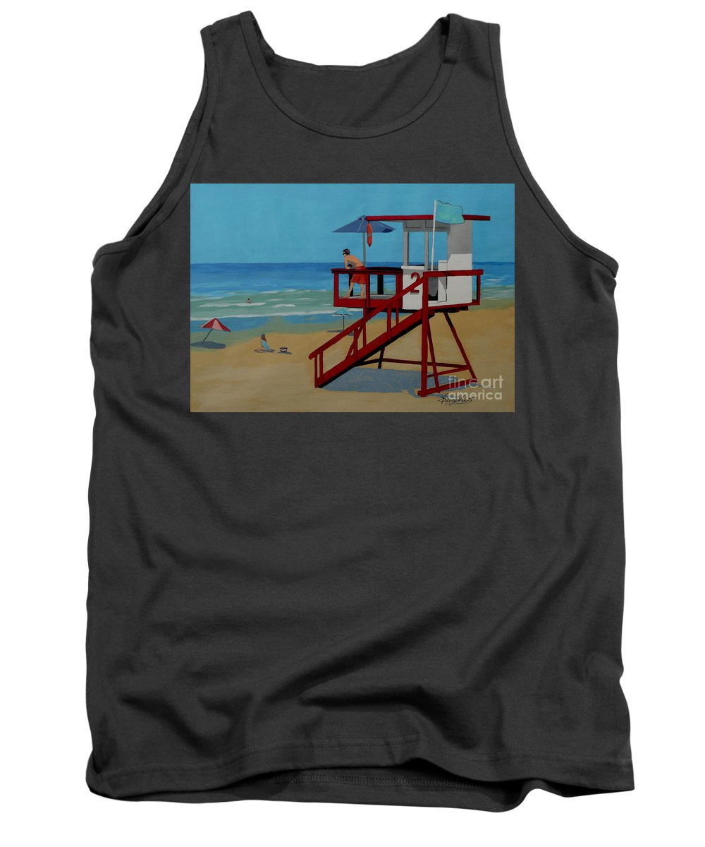Lifeguard Tank Top featuring the painting Distracted Lifeguard by Anthony Dunphy