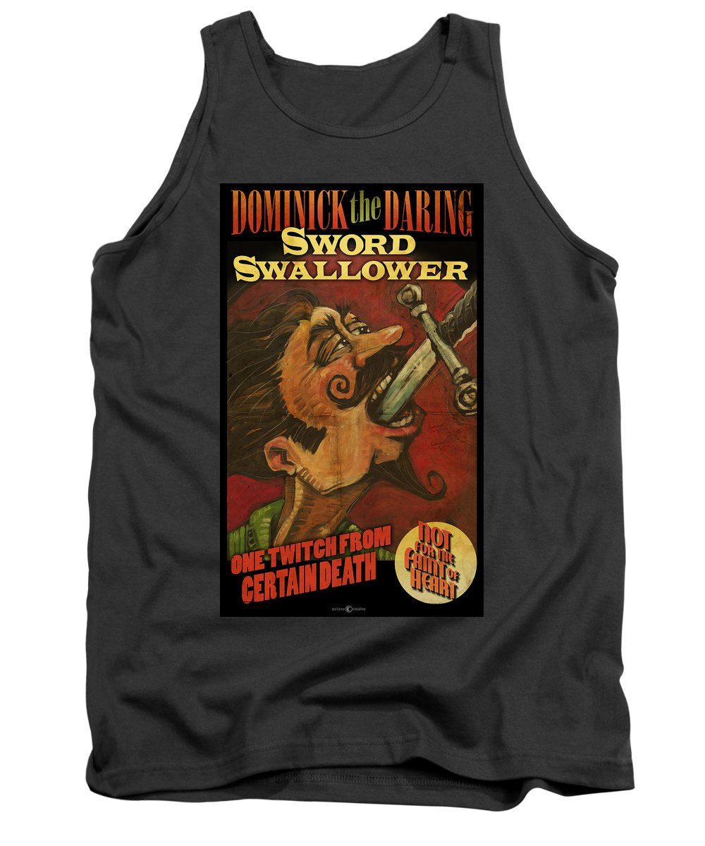 Sword Swallower Tank Top featuring the painting Dominick The Daring Poster by Tim Nyberg