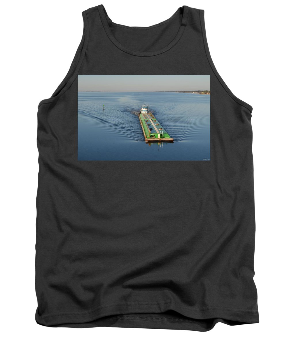 Double Tank Top featuring the photograph Double Barge On Calm Santa Rosa Sound From Navarre Bridge At Sunrise by Jeff at JSJ Photography