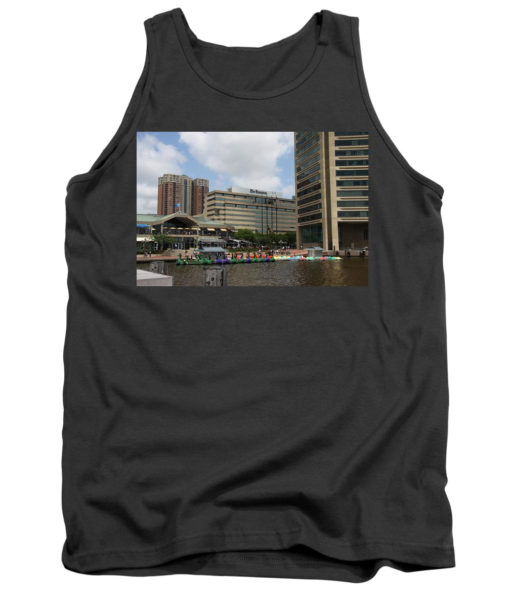 Boats Tank Top featuring the photograph Dragonboats - Inner Harbor Baltimore by Christiane Schulze Art And Photography