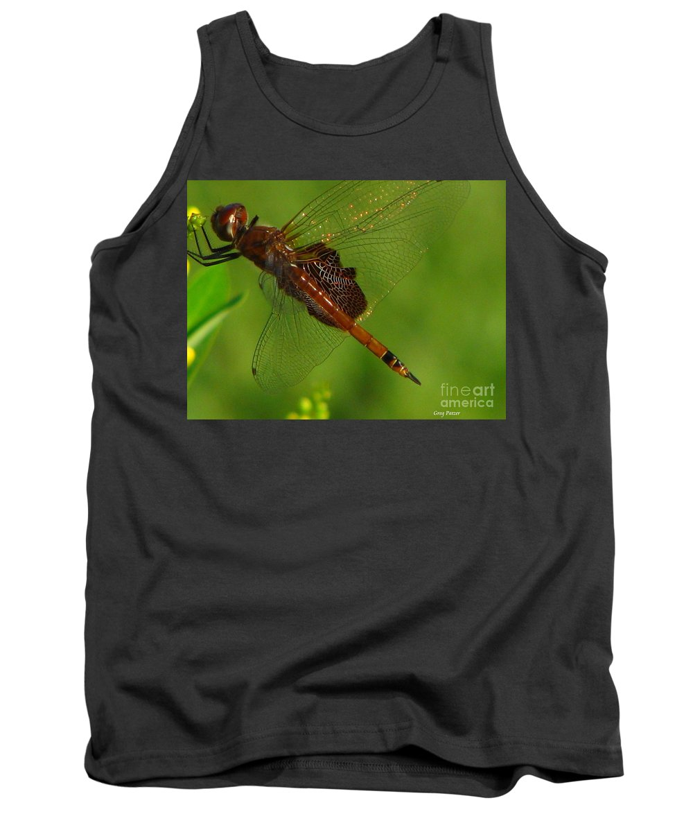 Art For The Wall...patzer Photographydragonfly Tank Top featuring the photograph Dragonfly Art 2 by Greg Patzer