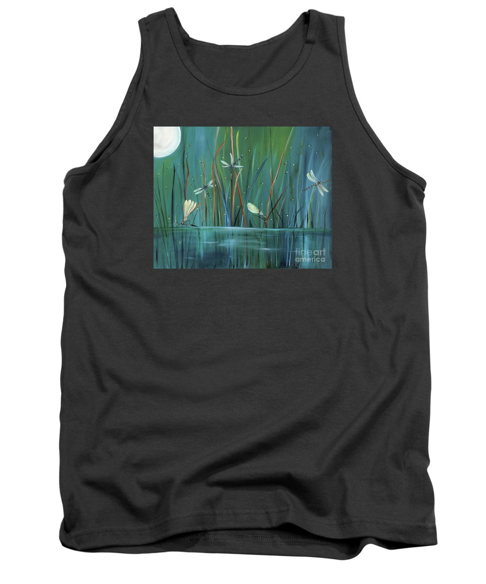 Dragonfly Tank Top featuring the painting Dragonfly Diner by Carol Sweetwood