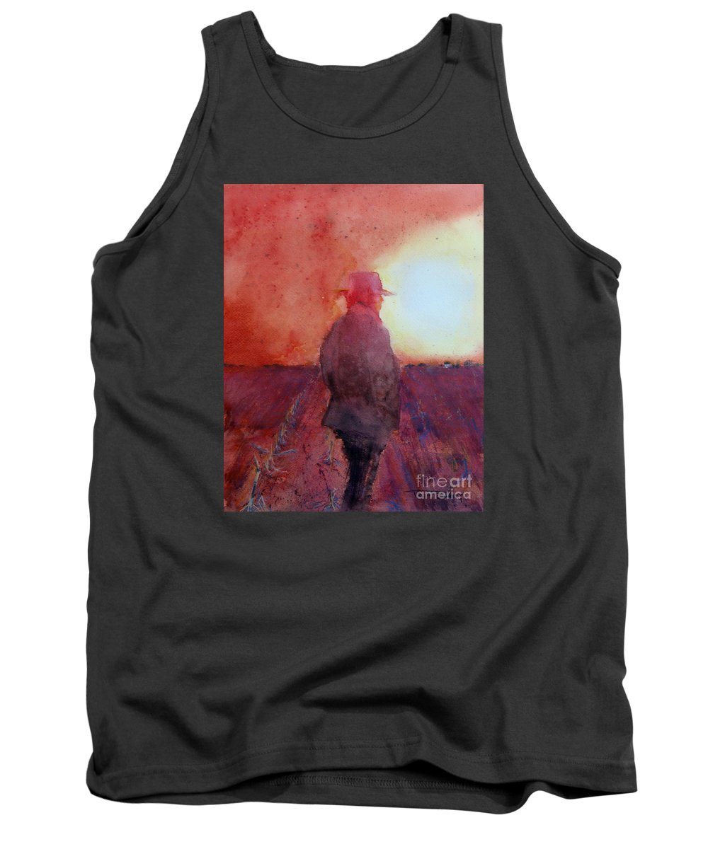 Farm Tank Top featuring the mixed media Drought by Trish Emery