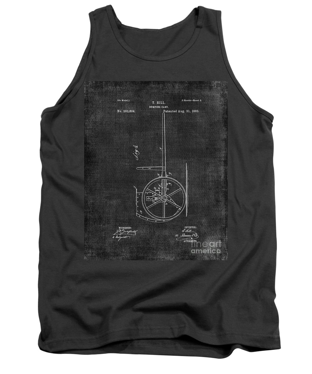 Dumping Tank Top featuring the digital art Dumping Cart Patent 011 by Voros Edit