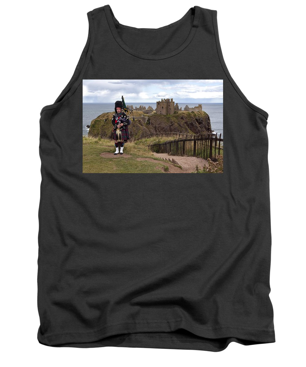 Piper Tank Top featuring the photograph Dunnottar Piper by Eunice Gibb
