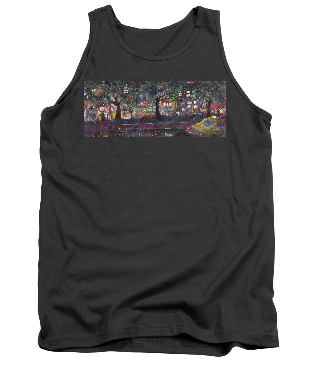 Cityscape Tank Top featuring the painting Dupont In The Rain by Leela Payne