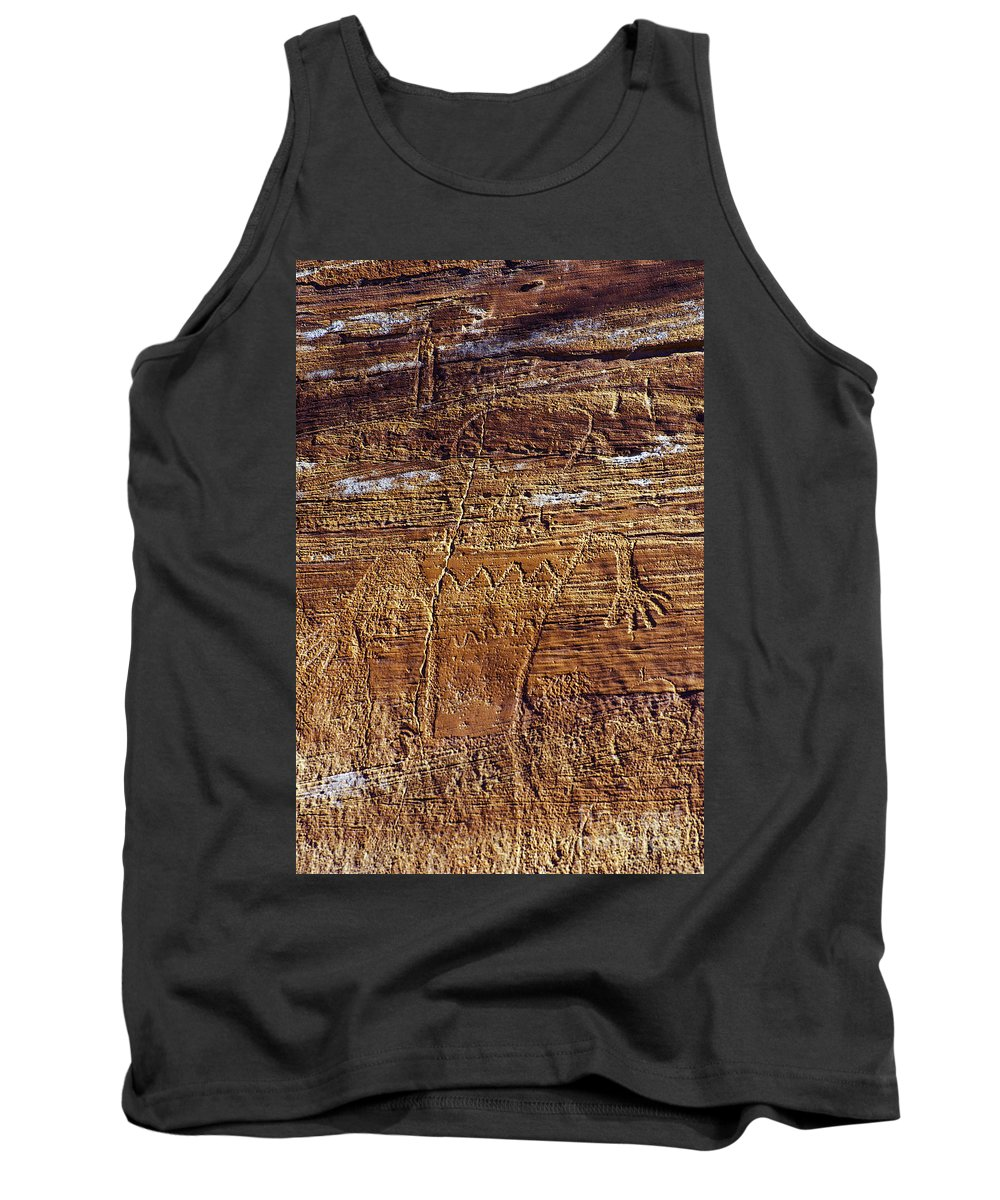 Capitol Reef National Park Utah Rock Drawing Park Parks Capitol Reef Utah Petroglyph Petroglyphs Indian Drawings Tank Top featuring the photograph Early Indian Drawings by Bob Phillips