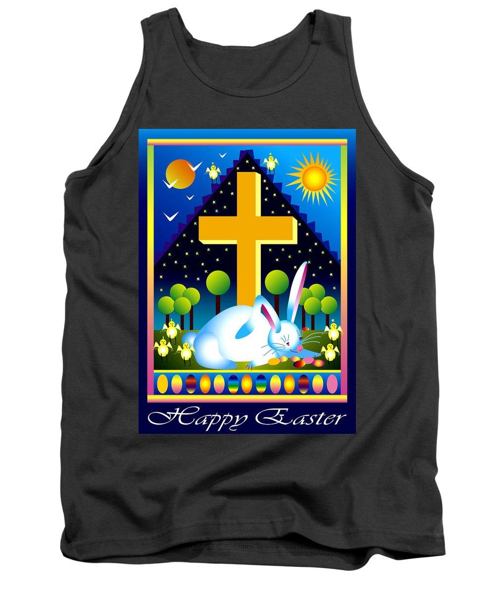 Bunny Tank Top featuring the digital art Easter Card by Nancy Griswold
