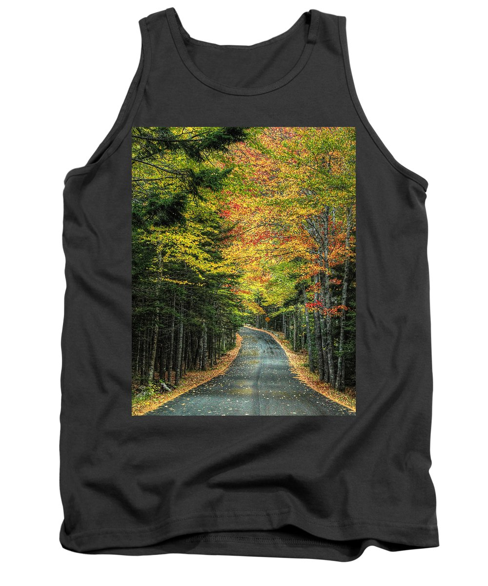 Acadia Tank Top featuring the photograph Echo Lake Road by Michael Kirk